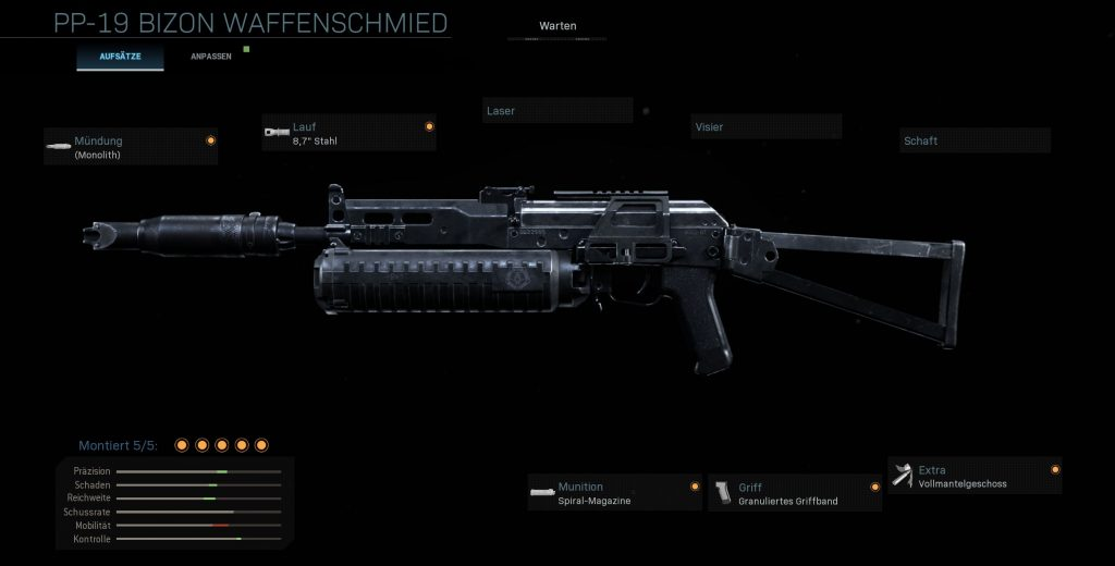 Call fo Duty Modern Warfare Bizon MG