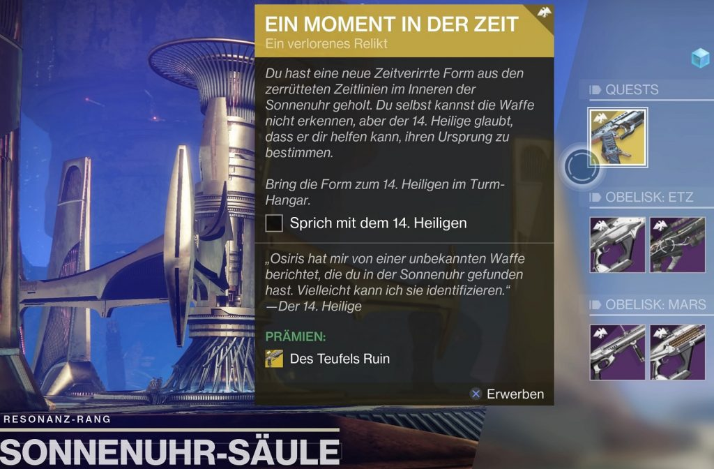 Quest one Moment in Time Destiny 2