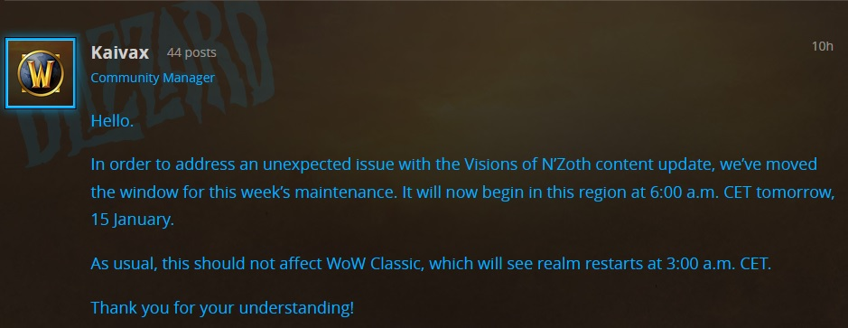 WoW Kaivax Patch 83 delay