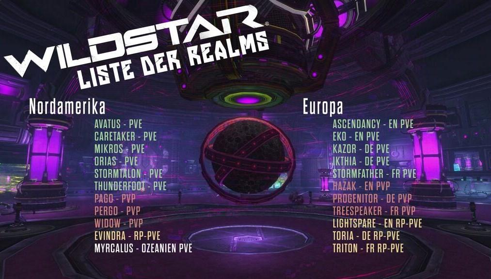 WildStar: 4 deutsche Realms in der Server-Liste zum Start