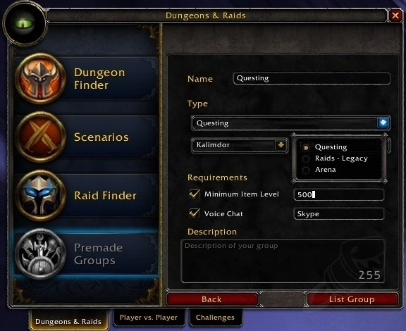 World of Warcraft Gruppenfinder