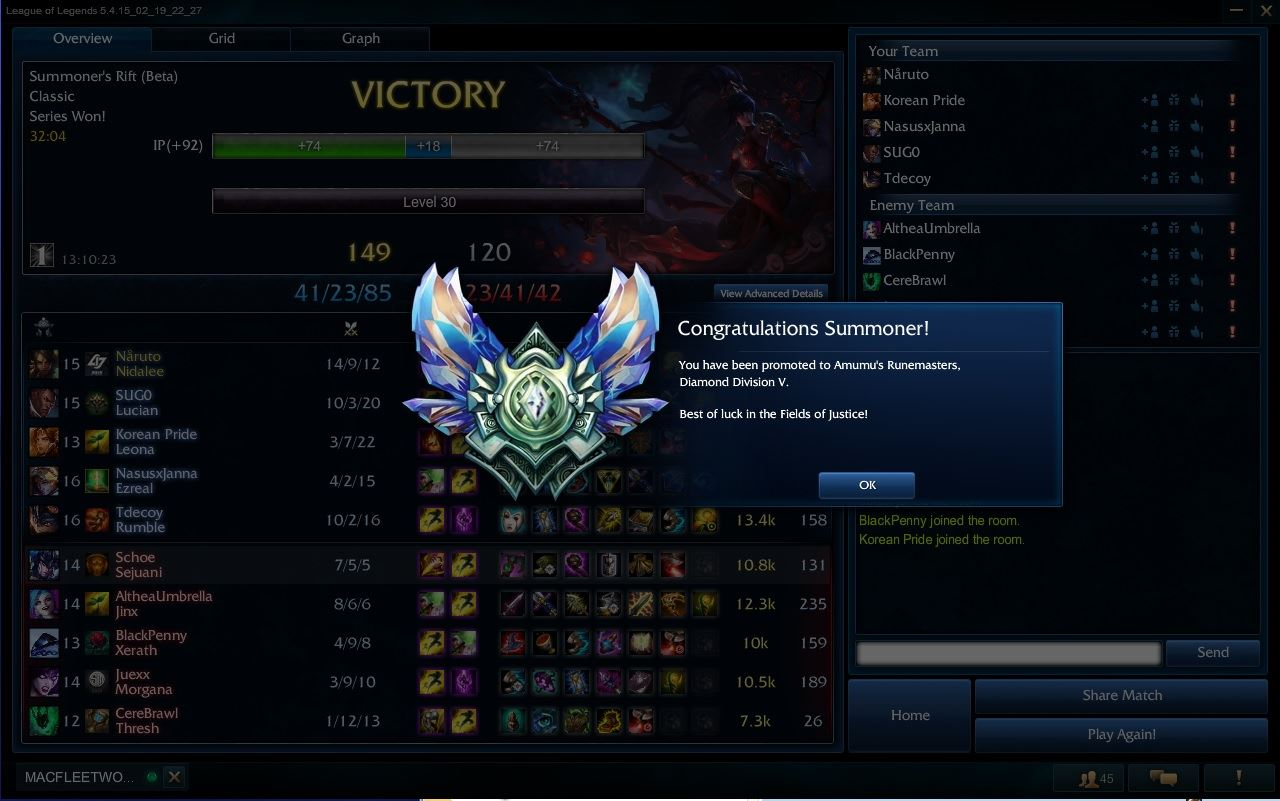 League of Legends Diamond V