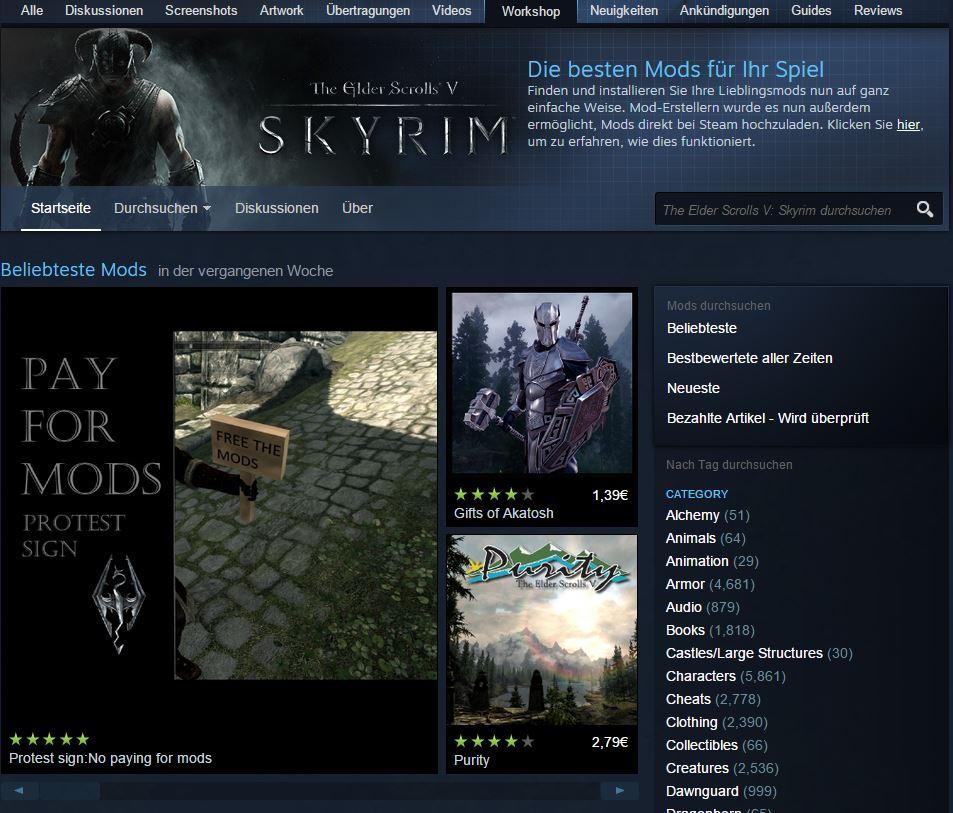 Steam: Aus die Maus – Valve rudert bei Bezahloption für Mods wieder zurück
