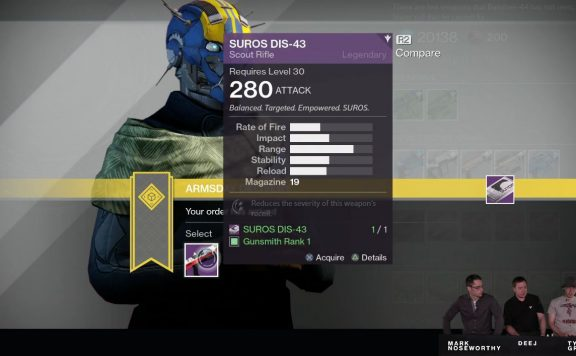 Destiny Taken King Gunsmith reward