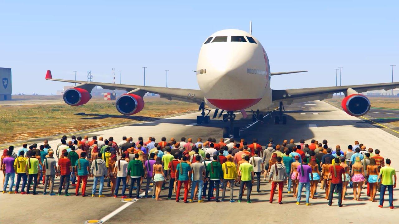 GTA 5: Kräftemessen im Video – Flugzeug gegen 100 NPCs