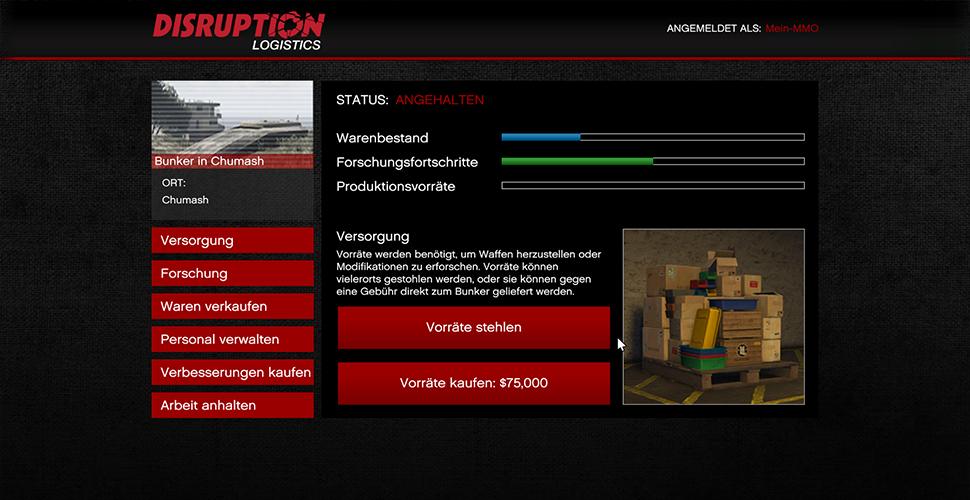 GTA 5 Online Bunker Vorräte