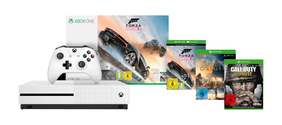 Singles-Day-Angebote: Xbox One S 1TB Super-Bundle mit drei Spielen