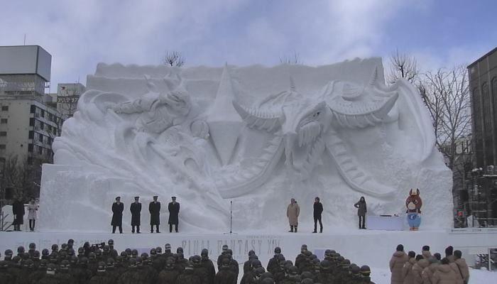 Final Fantasy XIV bekommt eine 15 Meter hohe Statue aus Schnee