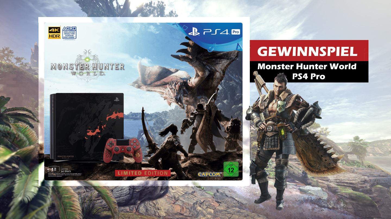 Gewinnt hier die ausverkaufte PS4 Pro im Monster Hunter World Stil!