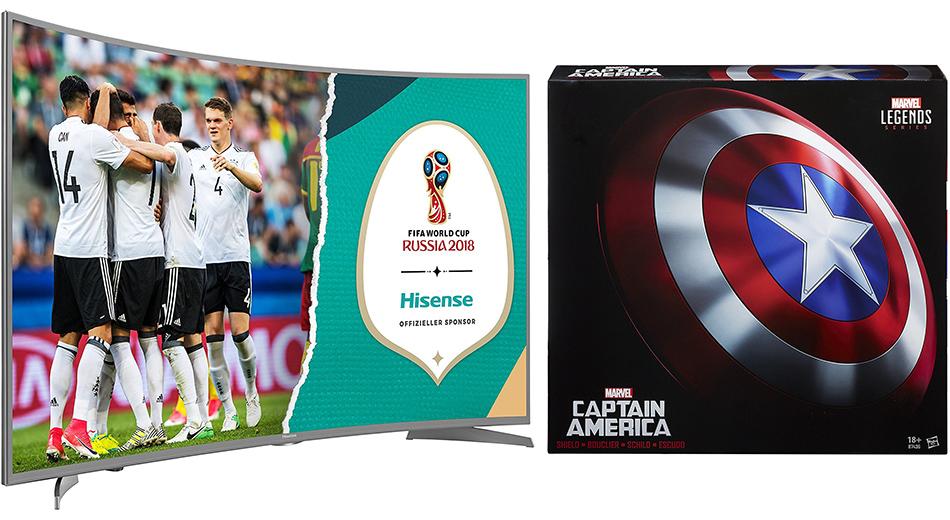 Amazon Oster-Angebote – Captain America Schild, Hisense UHD-TV