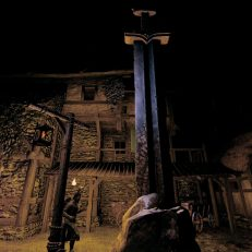 Life is Feudal MMO Gildenmonument bei Nacht
