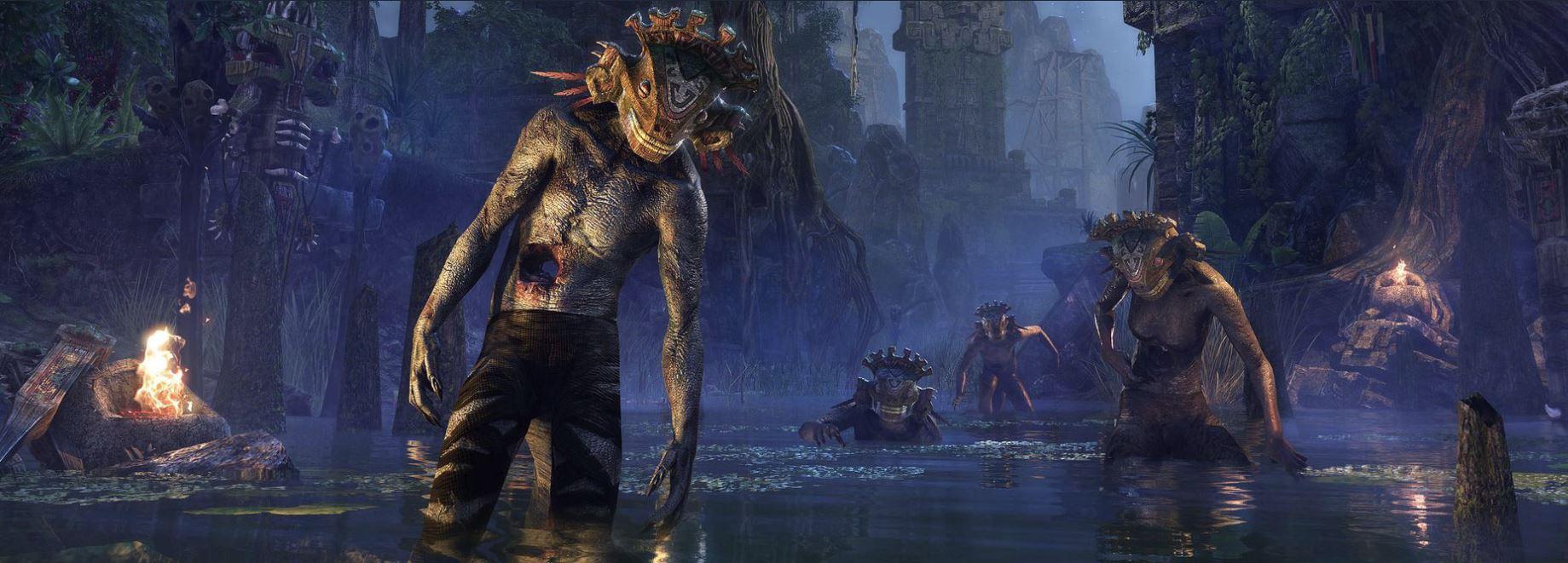 Elder Scrolls Online zeigt Murkmire und Argonier, die auf Echsen reiten