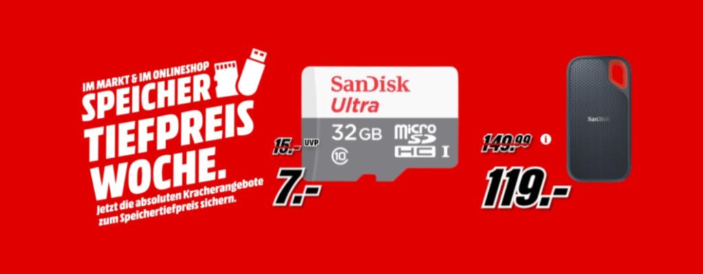 MediaMarkt-Speicher-Deal: microSDHC & SSD von SanDisk