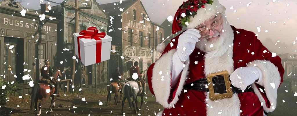 In Red Dead Online reitet jemand als Weihnachtsmann herum