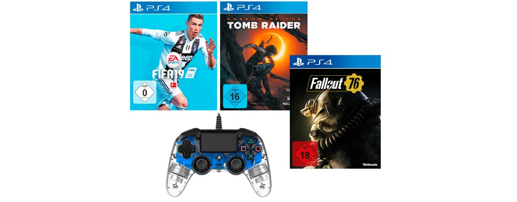 MediaMarkt: PS4-Controller mit FIFA 19, Tomb Raider & Fallout 76 für 89€