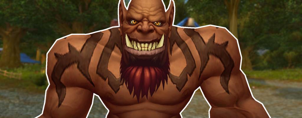 WoW Maghar Orc grinst dreckig und nackt