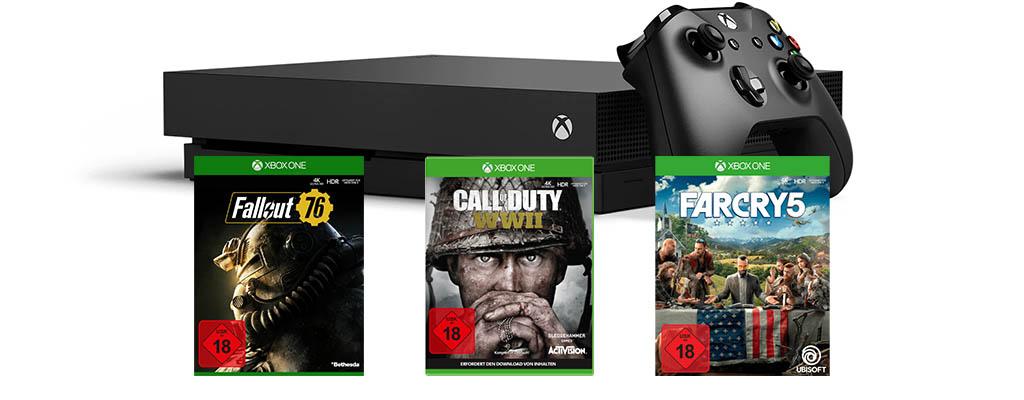 Xbox One X im Bundle mit drei Spielen für nur 399 Euro