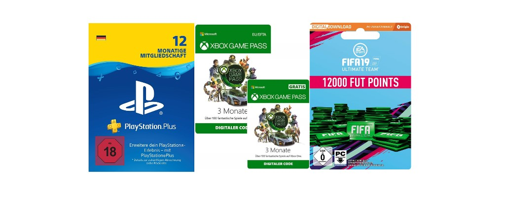 PlayStation Plus, Xbox Game Pass & FIFA Points bei Amazon im Angebot