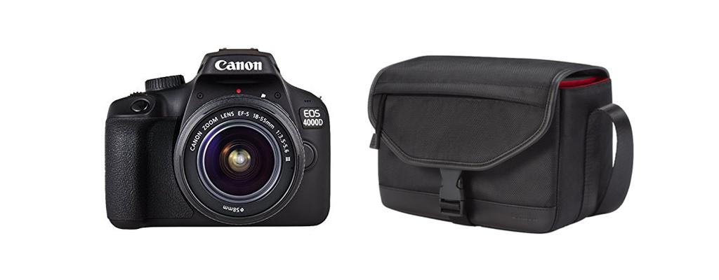 Canon EOS 4000D DSLR mit Speicherkarte, Tasche und Objektiv für 199€