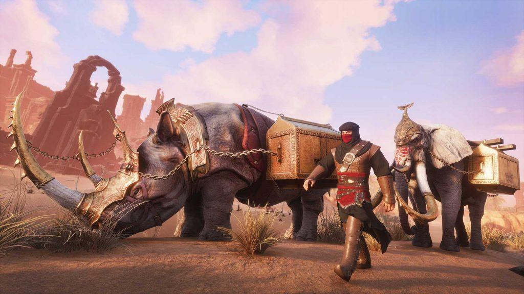 Conan Exiles Turan DLC Elefanten und Nashorn Karawane