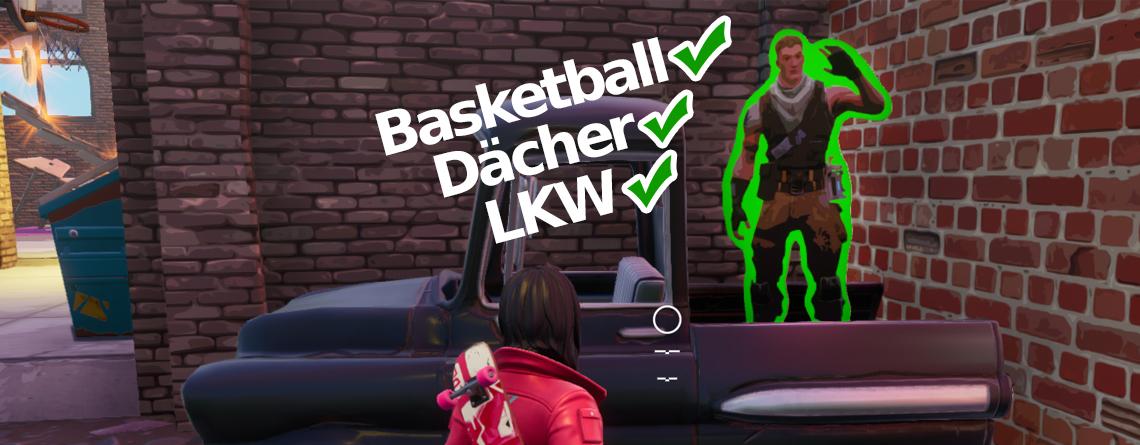 Fortnite: Finde Jonesy beim Basketballplatz, bei Dächern und Lastwagen – City Chaos