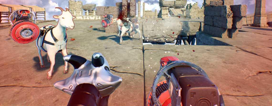 Goat of Duty spielt sich wie das klassische Quake – nur mit Ziegen