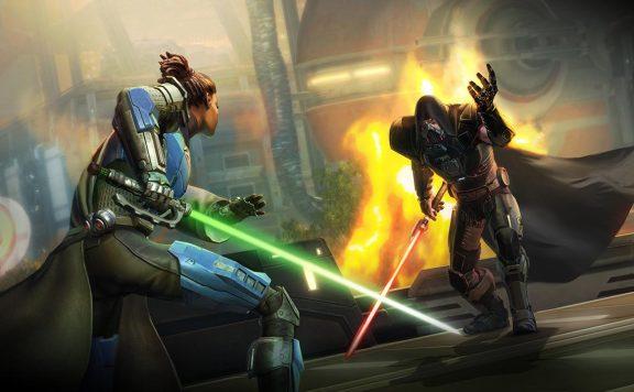 SWTOR Onslaught Duell zweier Leute mit Lichtschwertern