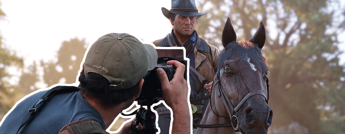 Jemand genießt Red Dead Online, indem er wildfremde Menschen fotografiert