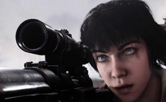 Wolfenstein Youngblood Jess zielt mit Scahrfschützengewehr