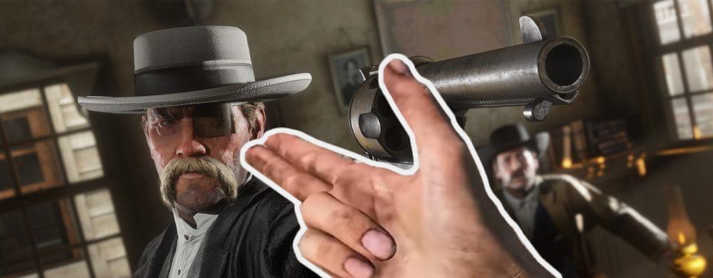 RDR 2: Arthur zückt die Fingerpistole, weil ihm die Waffen ausgehen