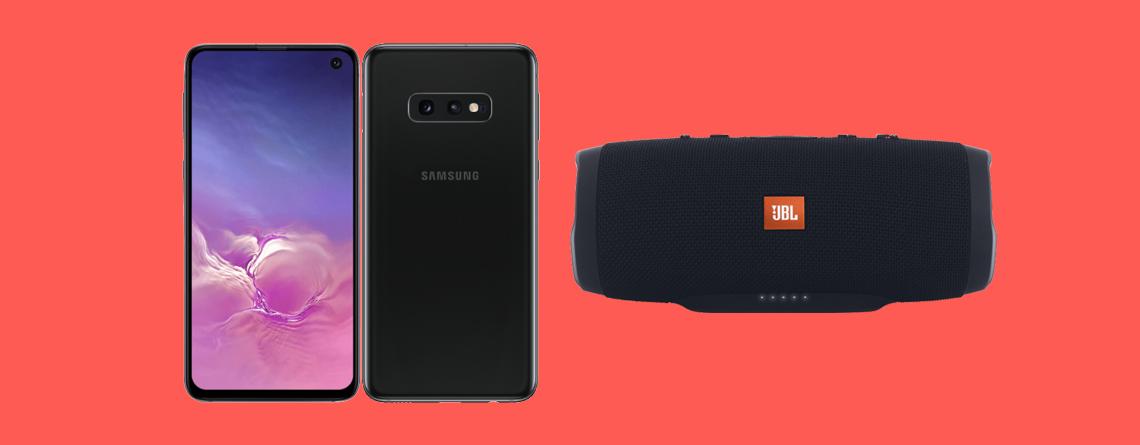 Samsung Galaxy S10e gibt es mit dem Bluetooth-Lautsprecher JBL Charge 3 sowie 6 GB LTE für nur 21,99 € im Monat.