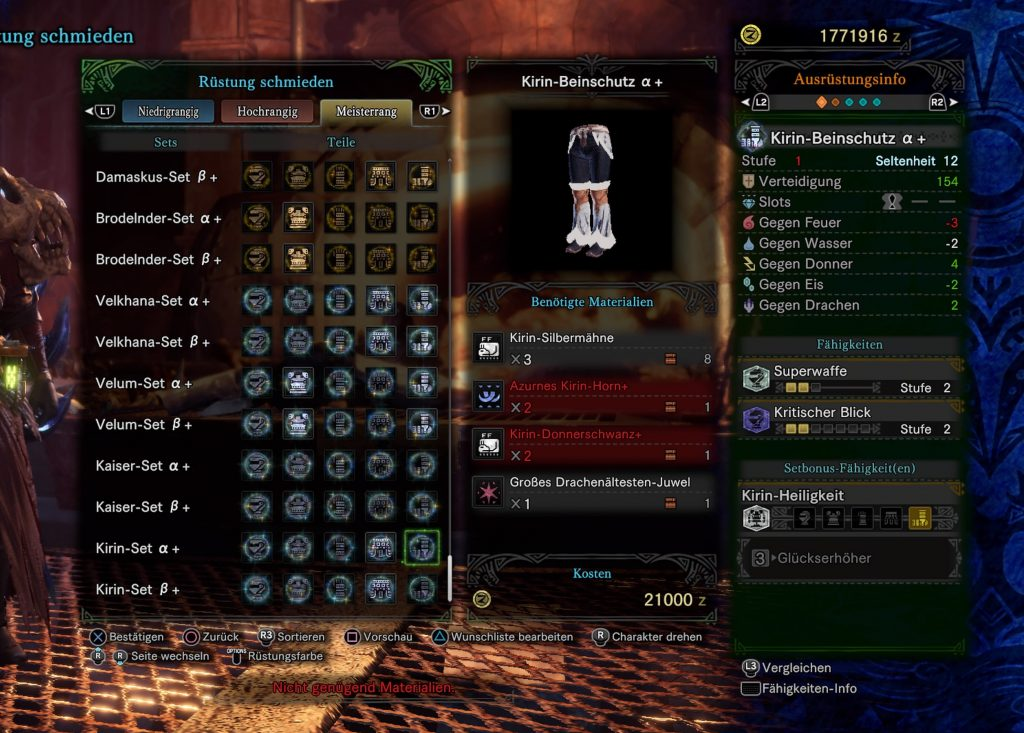 Monster Hunter World Iceborne Kirin Rüstung