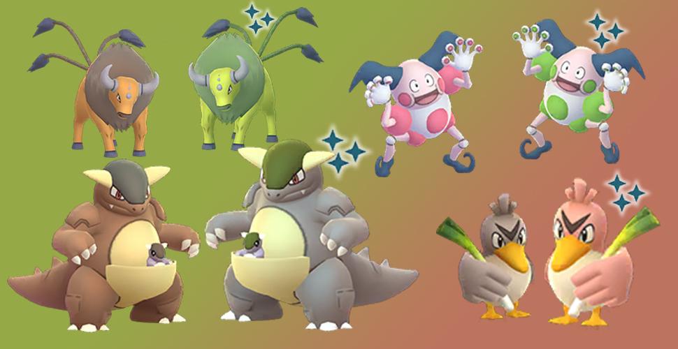 Pokémon GO regionale Shiny Tauros Kangama Pantimos Porenta