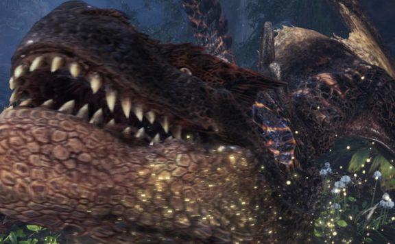 Monster Hunter World Brachial-Tigrex grinst