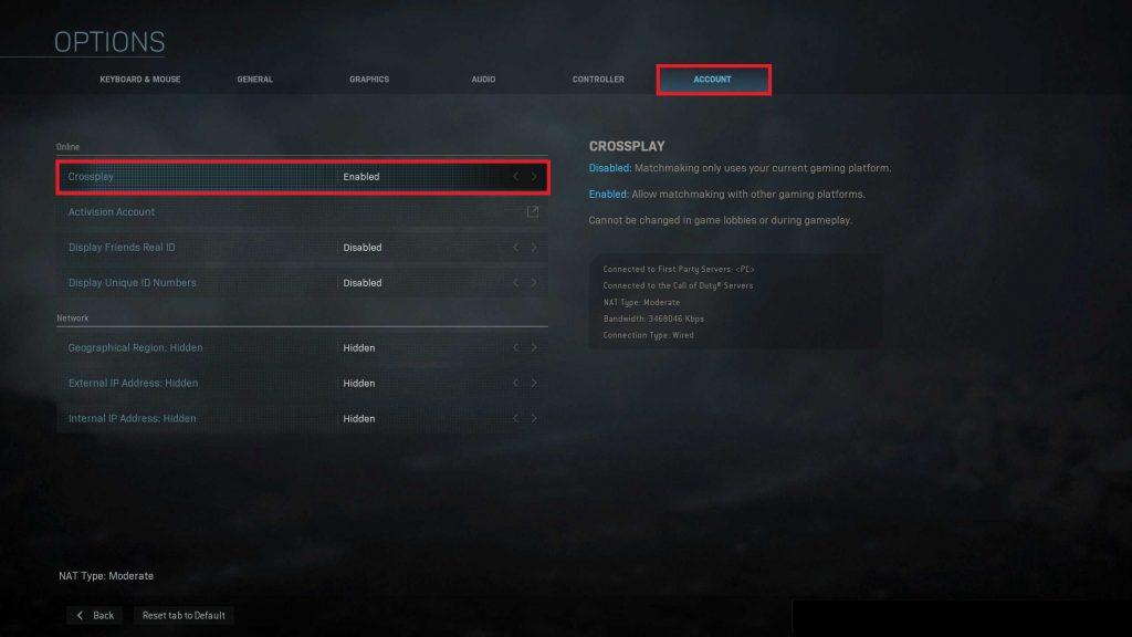 Call of Duty Modern Warfare Crossplay Option