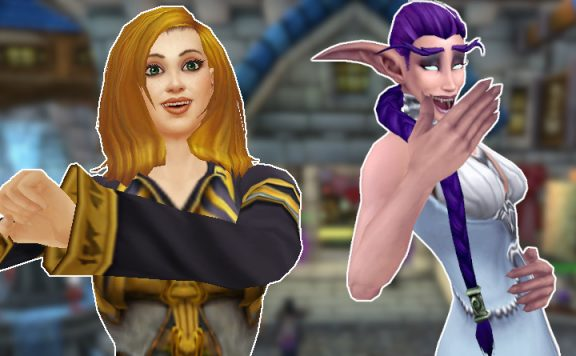 WoW Female Mage Dancing Night Elf Laughing title 1140×445