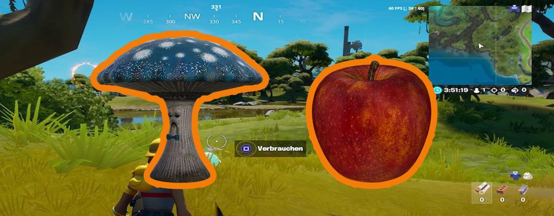 Fortnite: Verbrauche einen Pilz, Apfel und Schlürfpilz – Fundorte auf der Map
