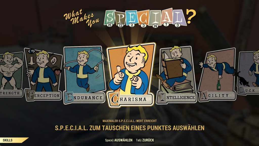 Fallout 76 Perk oder Special Screen