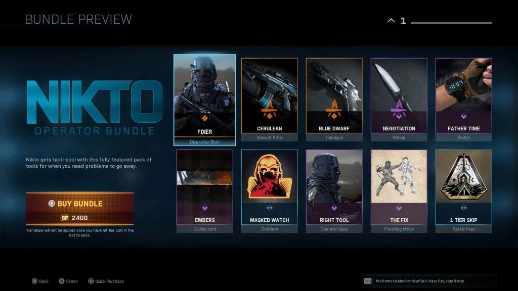 cod modern warfare bundle nikto