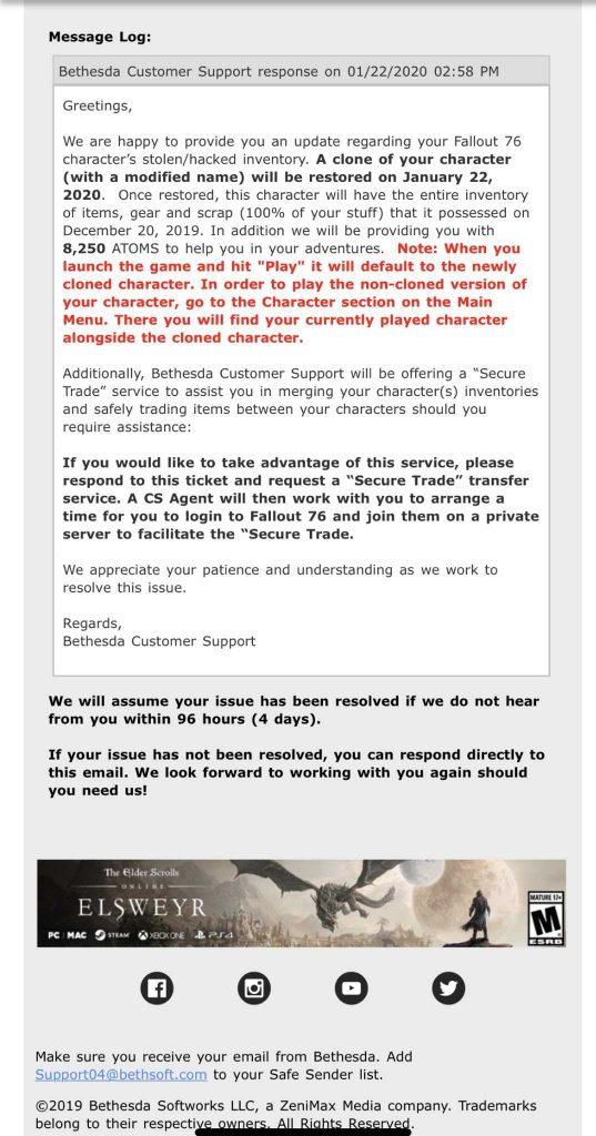 Fallout 76 mail von bethesda zu den hacks