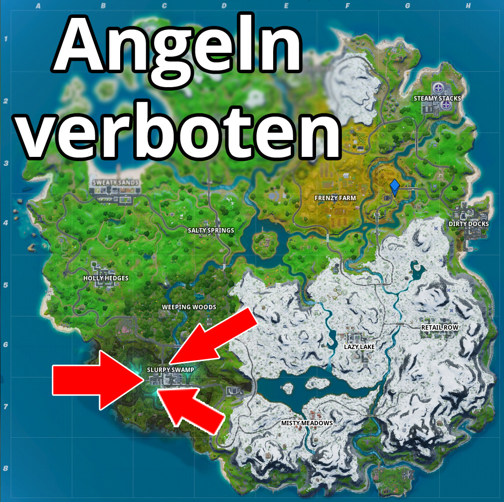 Fortnite Angelverbotsschilder Map Fundorte Angeln Karte