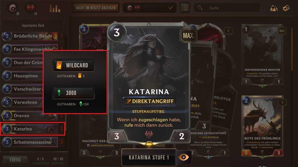 Legends of Runeterra Deck bauen Kata