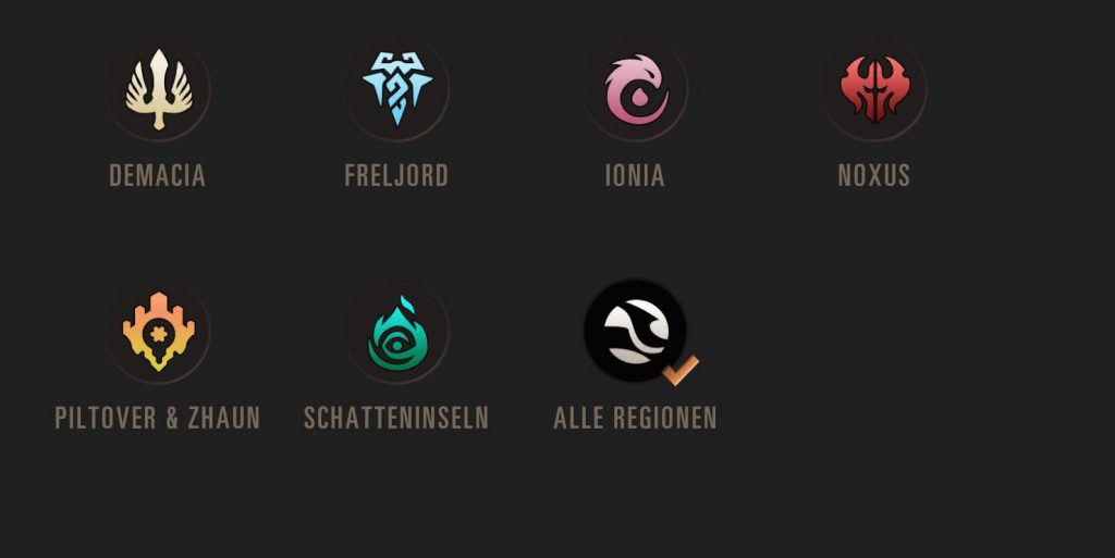 Legends of Runeterra Regionen