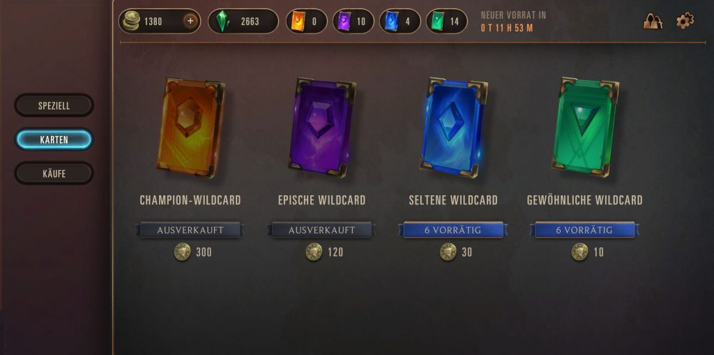 Legends of Runeterra Shop Wildcards