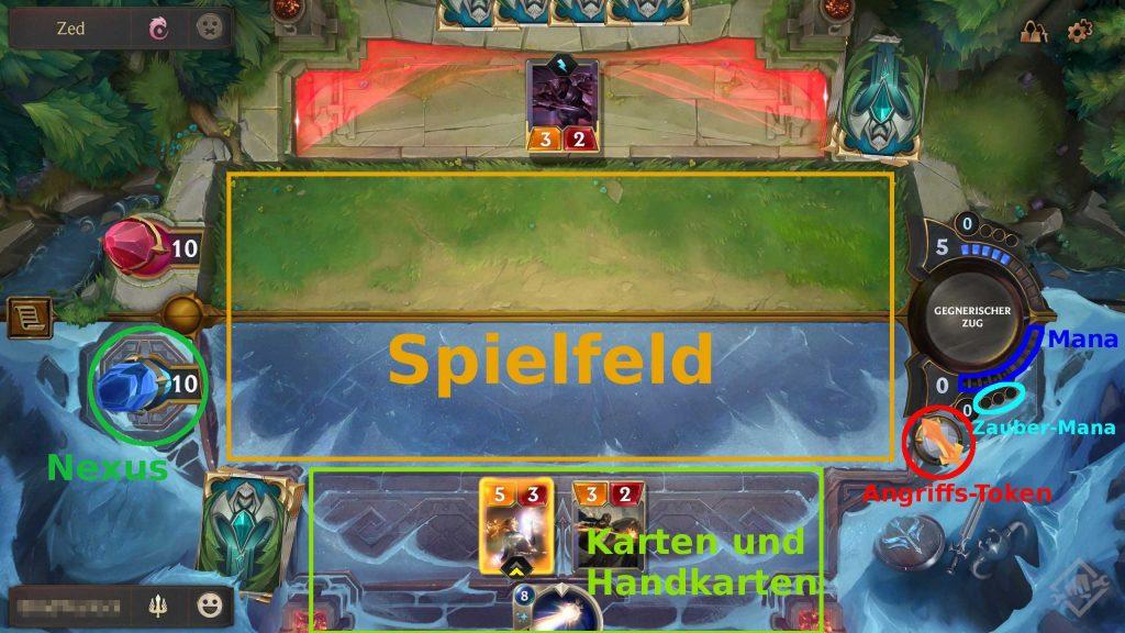 Legends of Runeterra Spielfeld beschriftet