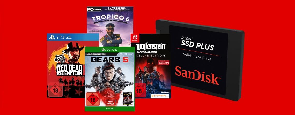 Spiele im Bundle günstiger und SSD von Sandisk bei Mediamarkt reduziert