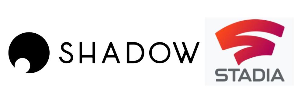Shadow vs Stadia - hier die Logos der beiden Cloud-Dienste