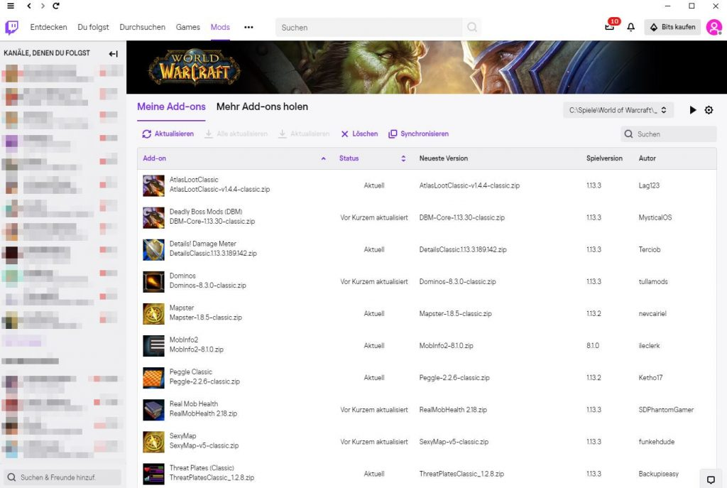 WoW Addons Twitch Client neu