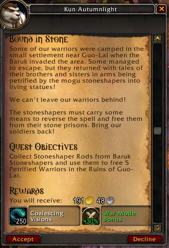 WoW Daily Quest Buff Coalescing Visions