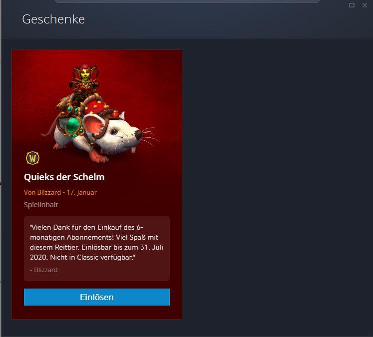 WoW Quieks Ratten Mount Geschenk